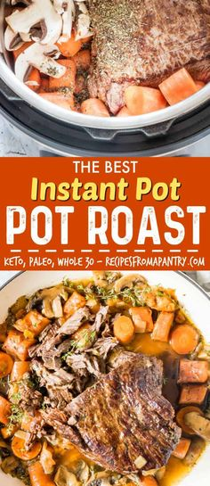 This is the BEST Instant Pot Pot Roast recipe! You'll love this easy Instant Pot recipe that produces pot roast bursting with flavour. Suitable for Keto, Paleo, Whole 30 and gluten-free dieters. #instantpot #instantpotrecipes #instantpotpotroast #potroast #pressurecookerpotroast via @recipespantry