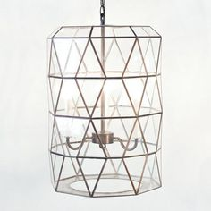 """Large faceted glass lantern.  24"""" h x 16"""" dia 3-light candle cluster for 40w bulbs 3' antique brass chain and canopy hardwire"""