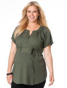 Plus Size Short Sleeve V-neck Ruffled Maternity Shirt