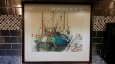 Vintage wear and tear present. This is an original signed piece for artwork - created by a Boston Artist of the Boston Harbor Fishery. It