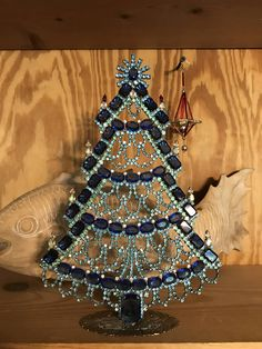 Stunning Blue Signed Vintage Czech Rhinestone Christmas Tree, Czech Blue Crystal Christmas Tree, Stand up tree, Tabletop Holiday Decoration by MeAndMoma on Etsy