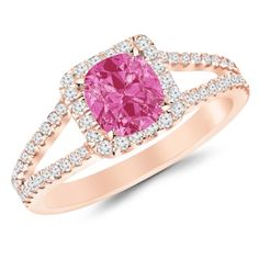 1.9 Carat Classic Double Row Pave Set Split Shank Diamond Engagement Ring  14K Rose Gold with a 1.5 Carat Cushion Cut AAA Quality Pink Sapphire (Heirloom Quality) Houston Diamond District http://www.amazon.com/dp/B00JMMBFP6/ref=cm_sw_r_pi_dp_2bjBub0FY8380