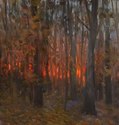 a painting a day: Sunset Through the Trees Tree Art, Forests, Sunsets, Trees, Contemporary, Day, Painting, Woods, Painting Art