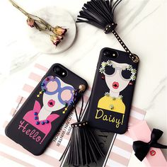 >> Click to Buy << Hot Fashion Girl Rivet Tassel Wrist Strap Phone Case for iPhone 7 6 6S Plus Korean Modern Pearl Sunglass Goddess Soft TPU Cover #Affiliate