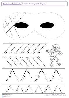 12 fiches de graphisme sur le thème de carnaval, pour les élèves de maternelle (moyenne section et grande section). Plusieurs notions travaillées, telles que les lignes verticales, les lignes obliques, les spirales, les ponts, les pics, les ronds, les points...