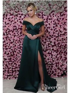 Off the Shoulder Mermaid Prom Dresses Sexy Thigh Split Green Formal Dresses ARD1341-SheerGirl
