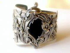 Grote zilveren manchet Zwarte Onyx zilveren Manchet armband Art Nouveau Victoriaanse Gothic sieraden