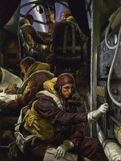 Take-Off Interior of a Bomber Aircraft Laura Knight Aircraft - Aircraft art - Aircraft design - vint Women Artist, Aircraft Interiors, Aircraft Painting, National Portrait Gallery, Wow Art, Art Uk, Aviation Art, Military Art, Military Service