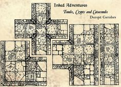 Modular dungeon sections by inkedadventures.com