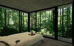 Main Bedroom of Gres House with 3 Walls of Floor to Ceiling Windows, Luciano Kruk, BAK Arquitectos, Brazil Interior Architecture, Interior Design, Room Interior, Floor To Ceiling Windows, House In The Woods, Beautiful Homes, Beautiful Scenery, House Plans, New Homes