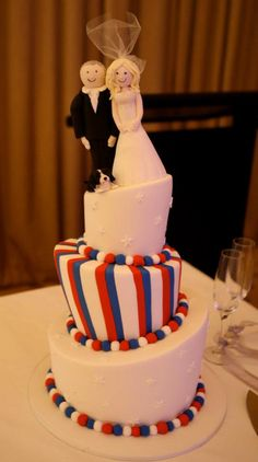 Crazy Crooked Cake Red White and Blue. Figurines of us and the dog on top Military Cake, Military Wedding, Wedding Topper, Wedding Cakes, Cute Cakes, Baby Photos, Branches, Wedding Stuff, Red And White
