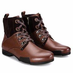 Brown Leather Lace Up Retro Vintage Dress Ankle Chelsea Boots Men SKU-1100454