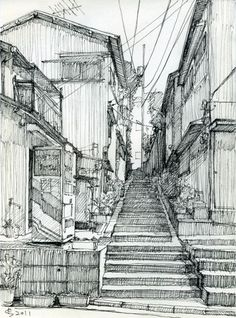 Back alley. Sketch by Suzuken ~ With optimal health often comes clarity of thought. Click now to visit my blog for your free fitness solutions!