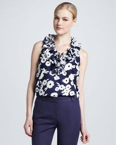 kate spade new york alix two-button jacket, lucille ruffle-neck blouse, & davis capri pant - Neiman Marcus