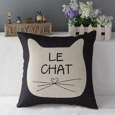 Cute Cat Cotton/Linen Throw Pillow Cover