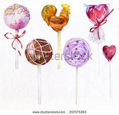Watercolor image of candies and chocolates of different shapes: balls, cock, heart, spiral. - stock photo