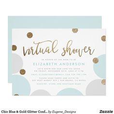 Shop Simple Mint & Gold Glitter Confetti Virtual Shower Invitation created by Eugene_Designs. Baby Shower Invitation Wording, Baby Shower Invites For Girl, Baby Shower Themes, Baby Boy Shower, Shower Ideas, Online Baby Shower Invitations, Glitter Confetti, Gold Glitter, Custom Invitations