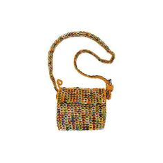 NOVICA Crocheted Yellow Shoulder Bag of Multi-Color Pop Tops ($140) ❤ liked on Polyvore featuring bags, handbags, shoulder bags, accessories, clothing & accessories, soda pop-top, yellow, man bag, zip shoulder bag and yellow shoulder bag