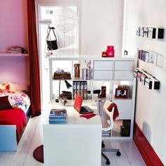 Great study area in bedroom for teenagers using Ikea's expedit storage