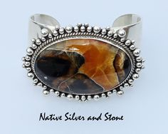 Artie Yellowhorse - Navajo Jewelry.  Cuff Bracelet. Simbircite/Simbercite with sterling silver scatterdot beaded perimeter.  Size 6-3/4 (adjustable) from Native Silver and Stone