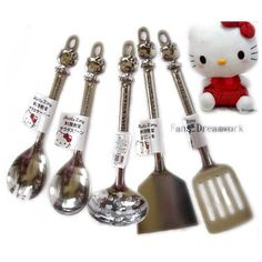 Amazon.com: Hello Kitty Kitchen Serving Set - Sanrio Hello Kitty Kitchen Metal Utensil Serving Set (5 Pieces): Toys & Games