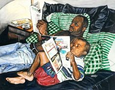 """American Father Art We AdoreAfrican American Father Art We Adore Cause I Love You - Sidney Carter Man and Boy Reading Book About Africa Poster at """"Haven"""" by the talented April Wilson Harrison of Greenville, SC! Black Love Art, Black Girl Art, My Black Is Beautiful, Black Couple Art, Black Man, Black Gold, Caricatures, African American Artwork, African Artwork"""