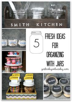 Organizing with Glass Jars, great ideas for the bathroom, craft room and kitchen.