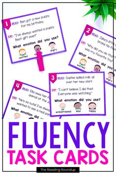 Reading fluency activities are meant to be fun! Students can use these task cards to practice expressive reading to match how the character is feeling. They will have so much fun practicing reading with expression that they won't realize they're improving their reading comprehension at the same time! The corresponding printable emotions charts can be used as an anchor chart during small groups Reading Fluency Activities, Teaching Reading Strategies, Fluency Practice, Reading Resources, Reading Comprehension, Teacher Resources, Third Grade Reading, Student Reading, Second Grade
