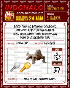 Undian Lotre 6D Togel Wap Online Live Draw 4D Indonalo Surabaya 21 Desember 2016