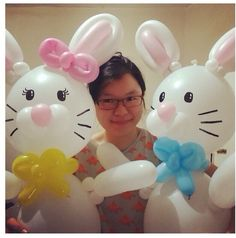 Easter bunny balloon characters #easter bunny #easter  #balloon #decor #decoration #column #arch #sculpture