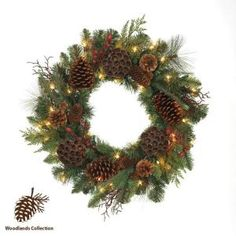 Woodlands 26 in. Pre-Lit Wreath with Clear at The Home Depot Christmas Holidays, Christmas Wreaths, Christmas Decorations, Christmas Ideas, Holiday Decor, Holiday Ideas, Battery Operated Christmas Wreath, Pre Lit Wreath, White Light