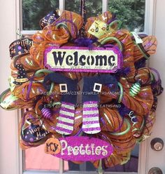 Halloween Fall Welcome Mesh Wreath, Halloween Wreath, Fall Wreath, Deco Mesh, Door Wreath, Home Decor, Poly Mesh Wreath on Etsy, $85.00