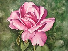Untitled rose painting by Lynne Hurd Bryant Watercolor ~ 6 x 8
