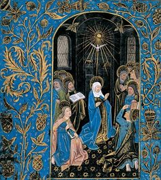 """Online exhibition at the Morgan Library & Museum """"This Book of Hours, referred to as the Black Hours, is one of a small handful of manuscripts written and illuminated on vellum that is stained or painted black. The result is quite arresting. The text is written in silver and gold, with gilt initials and line endings composed of chartreuse panels enlivened with yellow filigree."""""""