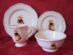 Vintage French Royal Easter Bunny Rabbit Soup Salad Dessert Bowls SET 4 Stunning | eBay