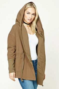 Forever 21 Contemporary - A French terry knit hooded jacket featuring a drawstring waist, wrap front, two patch pockets, and long sleeves with ribbed trim.