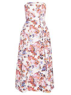 MARY KATRANTZOU Pearl Solar Rose-Print Strapless Dress. #marykatrantzou #cloth #dress