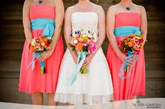 coral bridesmaid dresses i like the splash of teal
