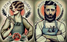 Barber Girl Tattoo Print