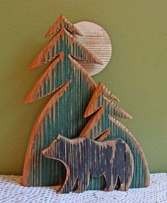 Wooden Sculpture. Rustic Pine Trees Bear and Moon. Wooden