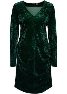 Jetzt anschauen: Modisches Samtkleid der Marke Bodyflirt mit Raffungen und attraktivem V-Ausschnitt. Länge in Größe 36/38 ca. 90cm.