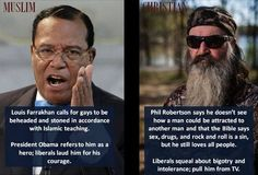 Louis Farrakhan calls for beheading of gays with no outrage Phil Robertson simply quotes Bible liberals Phil Robertson, Liberal Logic, Liberal Hypocrisy, Cognitive Dissonance, Islamic Teachings, Down South, We The People, In This World, Things To Think About