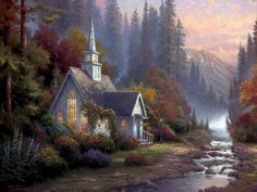 """The Forest Chapel"" by Thomas Kinkade. Studio Proof"
