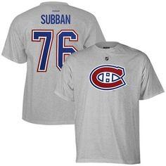Mens Montreal Canadiens PK Subban Reebok Ash Name & Number T-Shirt