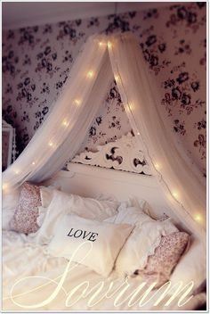 Cosy bedroom defo want the twinkle lights hanging from the crown above bed :) ♥♥♥♥