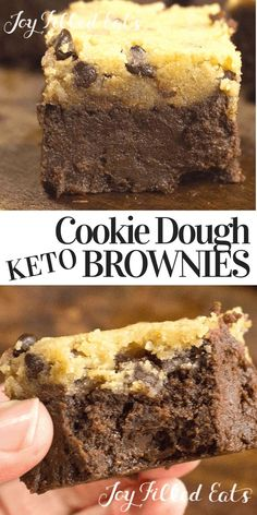 Chocolate Chip Cookie Dough Brownies - Low Carb, Keto - My Keto Cookie Dough Brownies have a thick gooey, fudge brownie underneath a layer of raw cookie do - Keto Cookies, Keto Cookie Dough, Cookie Dough Brownies, Cookies Et Biscuits, Keto Biscuits, Sugar Free Desserts, Sugar Free Recipes, Low Carb Recipes, Diabetic Desserts Sugar Free Low Carb