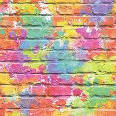 Papírové tapety na zeď Freestyle cihlová stěna růžovo-žlutá