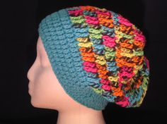 neon slouchy with turquoise brim by HatsForHumansByCarol on Etsy