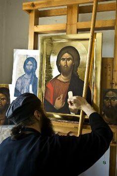 "An Orthodox monk ""writing"" an icon Religious Images, Religious Icons, Religious Art, Byzantine Icons, Byzantine Art, Writing Icon, Orthodox Christianity, Catholic Art, Orthodox Icons"