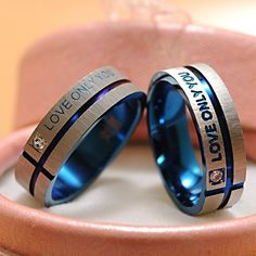 """Stainless Steel Simple Circle """"Love Only You"""" Couple Rings"""